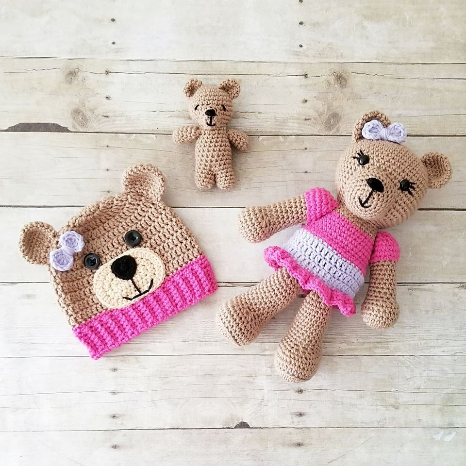Baby Newborn Teddy Crochet Teddy Bear Stuffed Animal Doll Toy Infant Newborn Baby Toddler Handmade Photography Photo Prop Baby Shower Gift Present