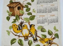 The Vintage Calendar Linen Tea Towel Yellow Birds On Branch Americangfinch Avid Vintage Avid Vintage Vintage Collectibles Birds On A Branch Sculpture Birds On A Branch Stencil