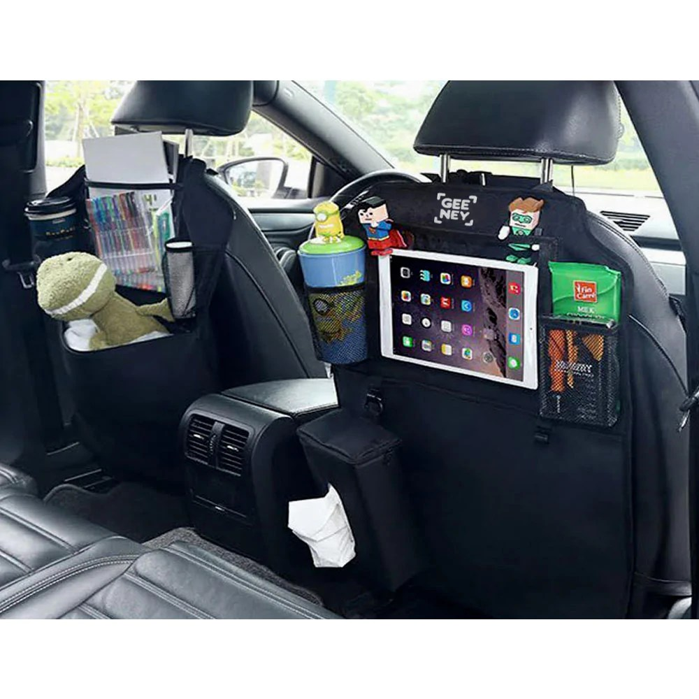 Auto Organizer Tablet Back Seat Car Organizer Storage Bag Tablet Holder Multi Pocket Cargo Baby Diaper Kick Mats Protectors Travel Hanger With Tissue Box For Suv Cars