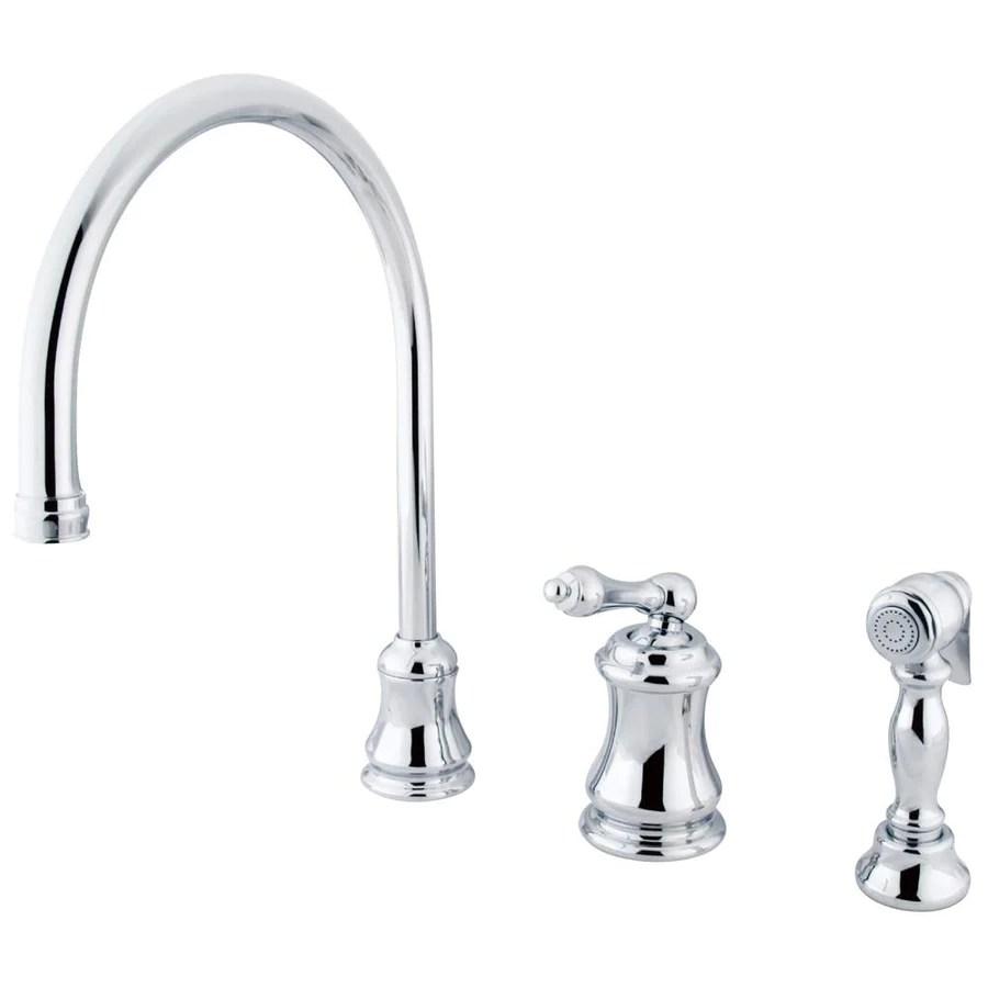 all kitchen faucets widespread kitchen faucet Chrome Single Handle Widespread Kitchen Faucet with Brass Sprayer KSALBS