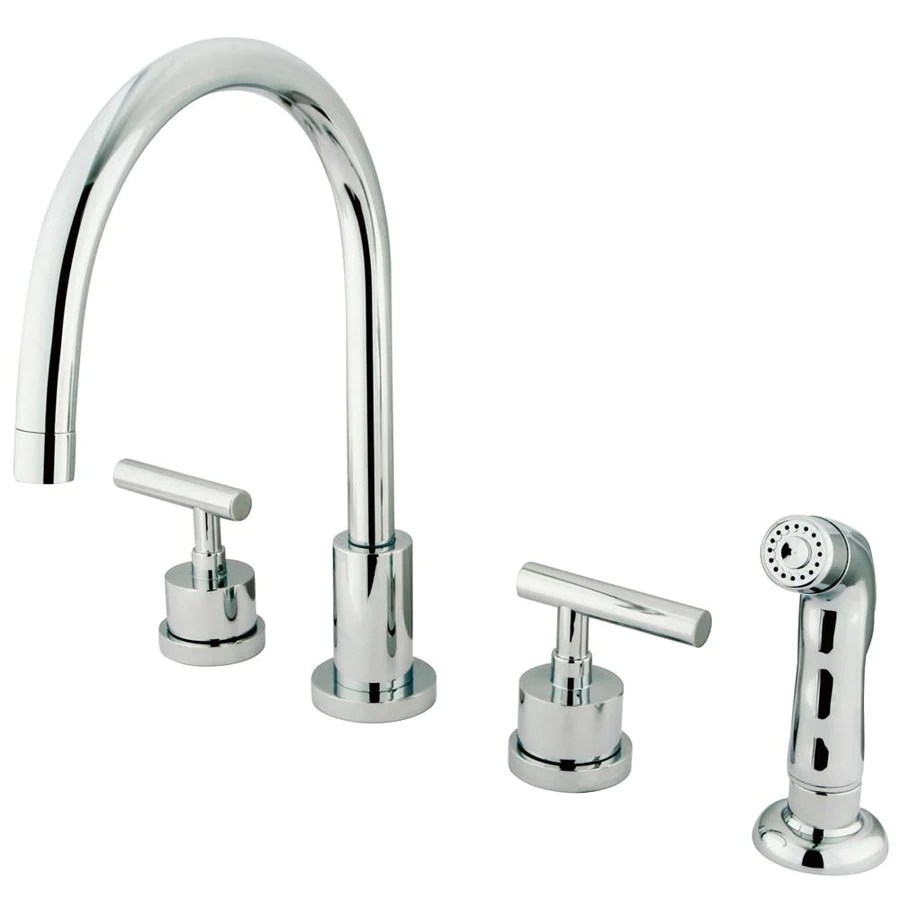 kingston brass manhattan collection widespread kitchen faucet Kingston Chrome Manhattan widespread kitchen faucet with sprayer KSCML