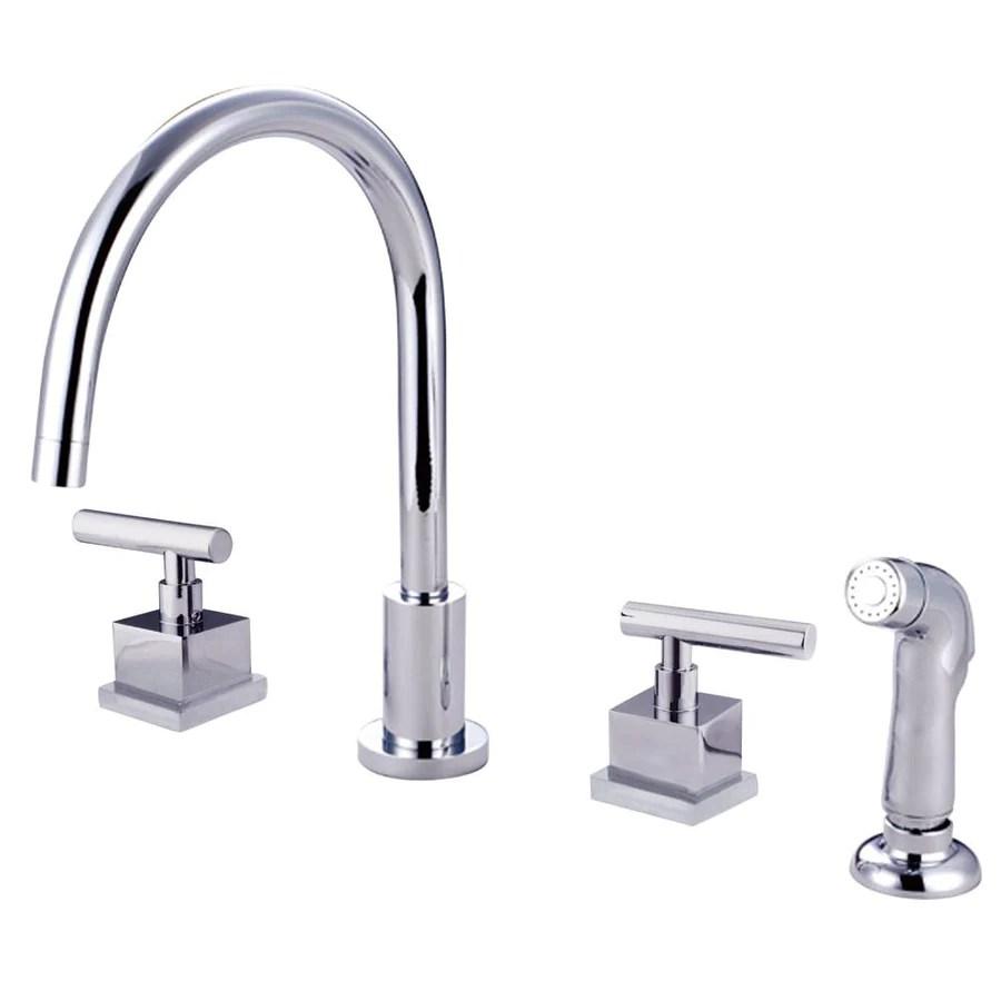 all kitchen faucets widespread kitchen faucet Claremont Chrome Widespread Kitchen Faucet Matching Plastic Sprayer KSCQL