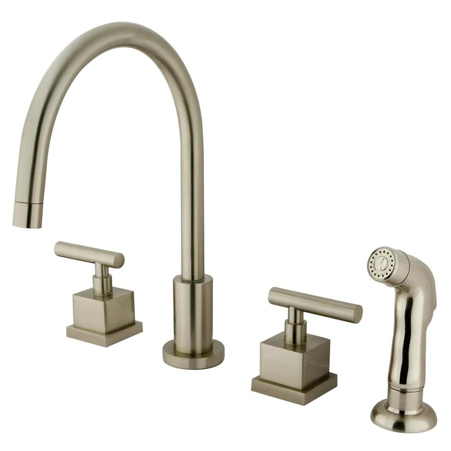 all kitchen faucets widespread kitchen faucet Claremont Satin Nickel Widespread Kitchen Faucet Matching Sprayer KSCQL