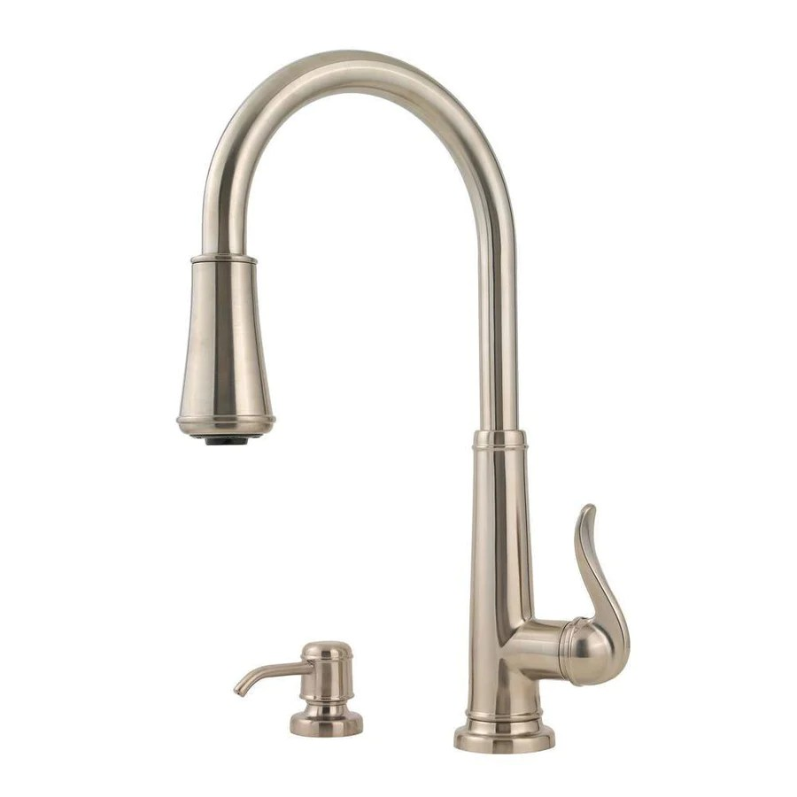 kitchen faucet with soap dispenser brushed nickel kitchen faucet Price Pfister Ashfield Single Handle Pull Down Sprayer Kitchen Faucet in Brushed Nickel