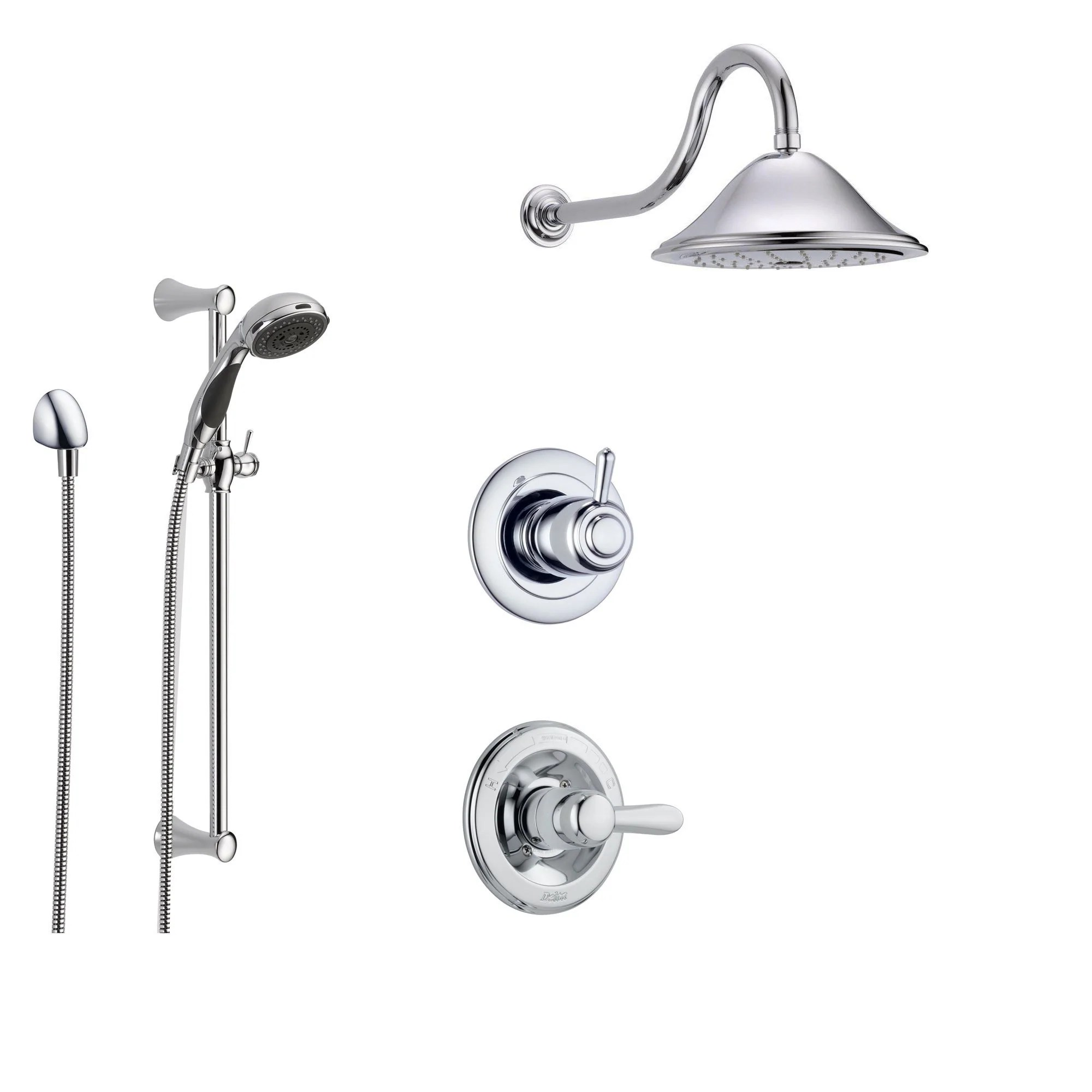 Delta Shower Diverter Delta Lahara Chrome Shower System With Normal Shower Handle 3 Setting Diverter Large Rain Showerhead And Handheld Shower Ss143881