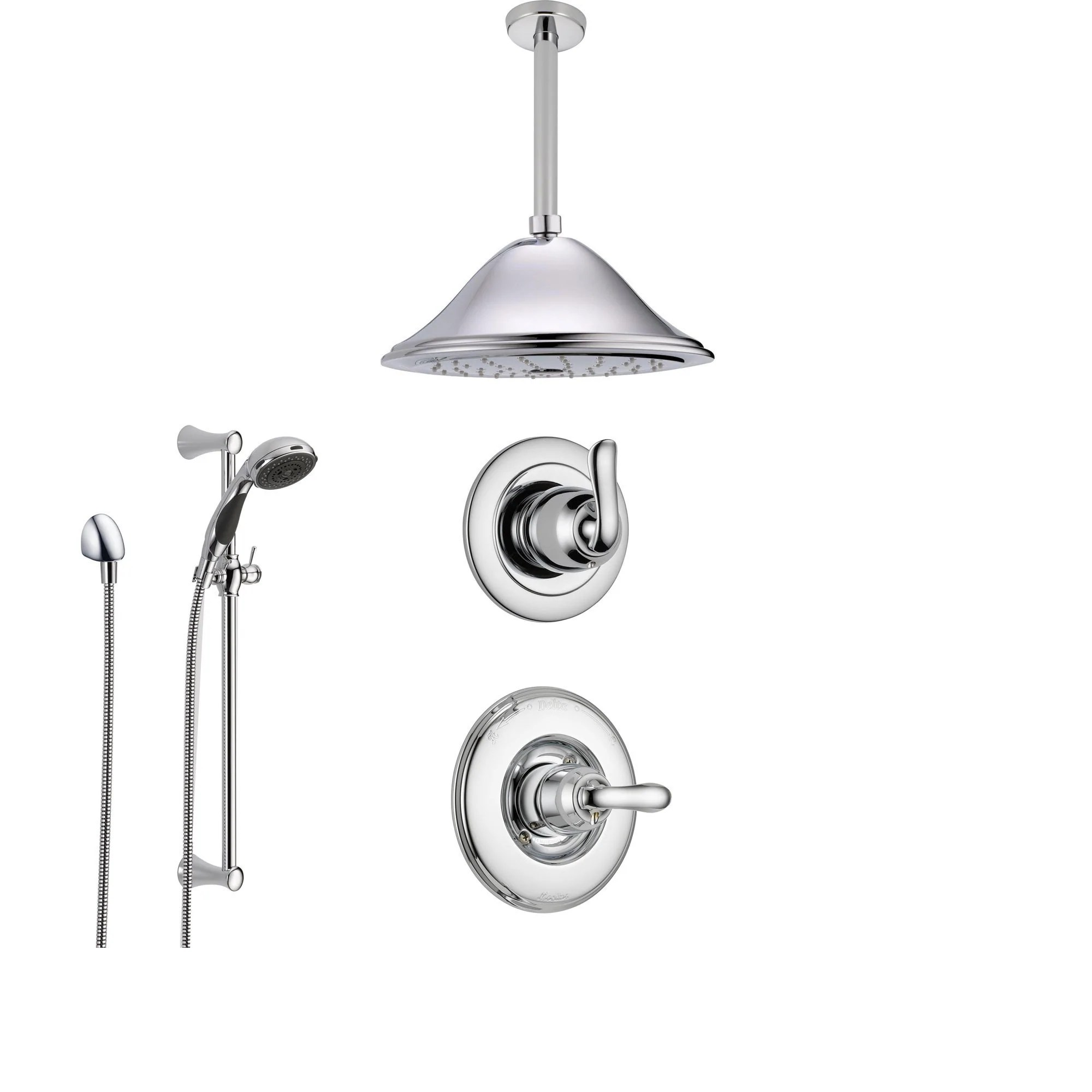 Delta Shower Diverter Delta Linden Chrome Shower System With Normal Shower Handle 3 Setting Diverter Large Ceiling Mount Rain Showerhead And Handheld Shower Ss149482