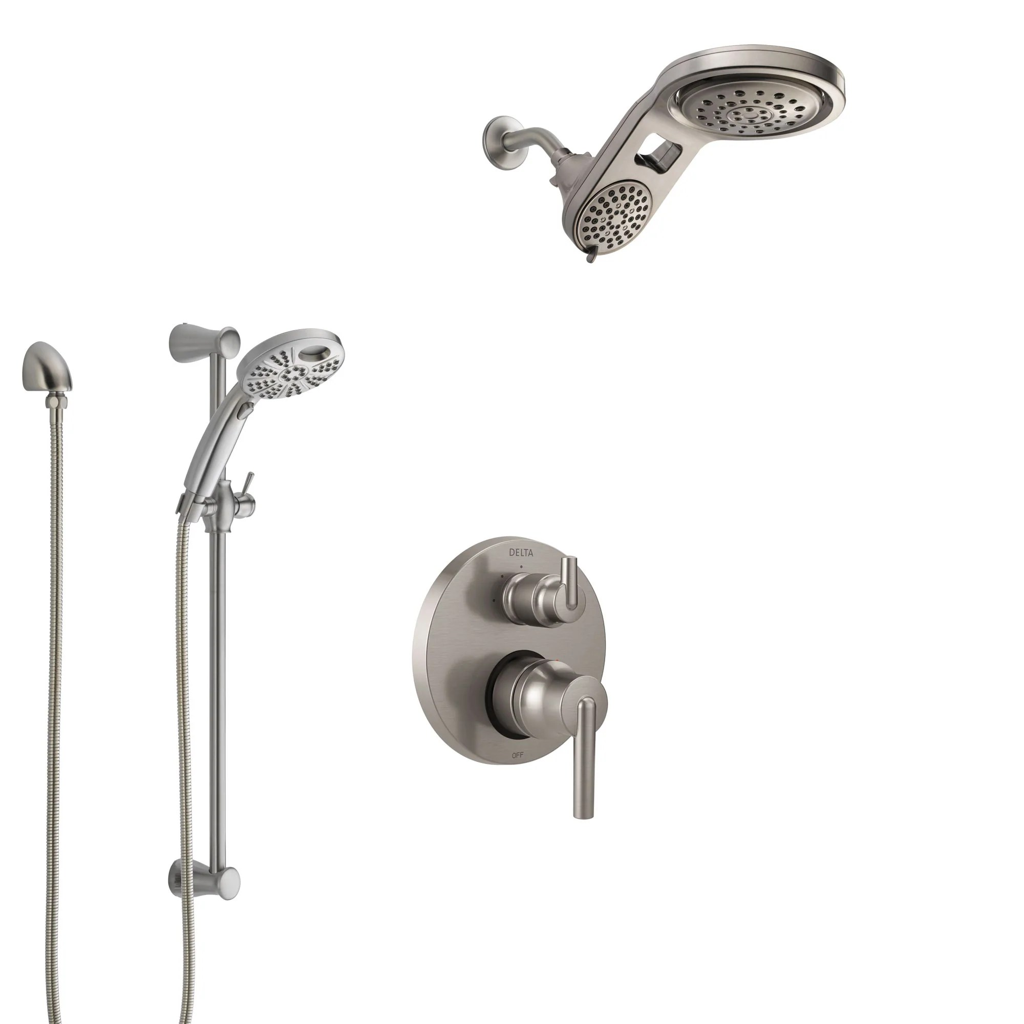 Delta Shower Diverter Delta Trinsic Stainless Steel Finish Shower System With Control Handle Integrated Diverter Dual Showerhead And Temp2o Hand Shower Ss24859ss4