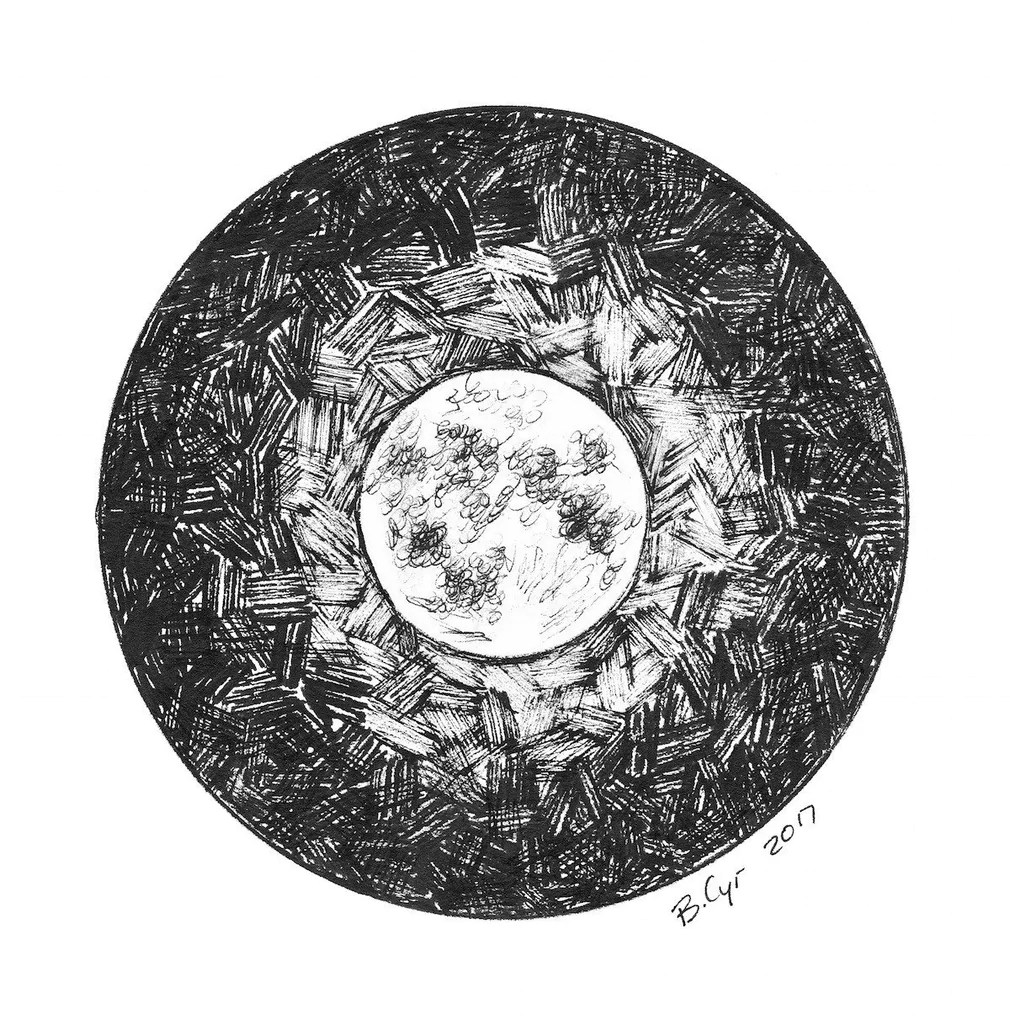 Full Moon Drawing Black And White Original Drawing Dark Sky Not So Dark With A Full Moon