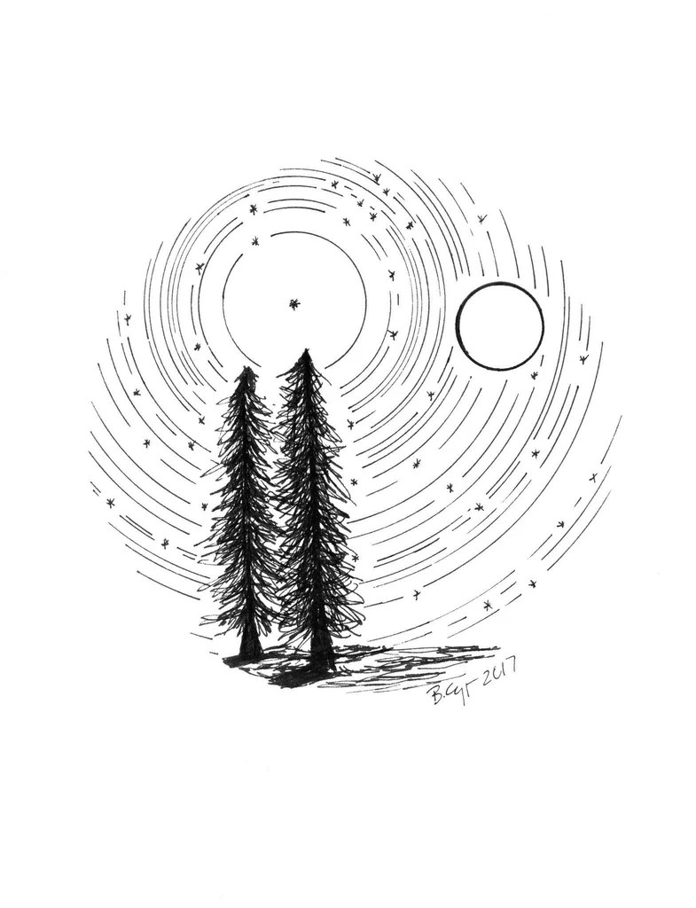 Full Moon Drawing Black And White Star Trails Tree Buddies With Full Moon Giclee Print