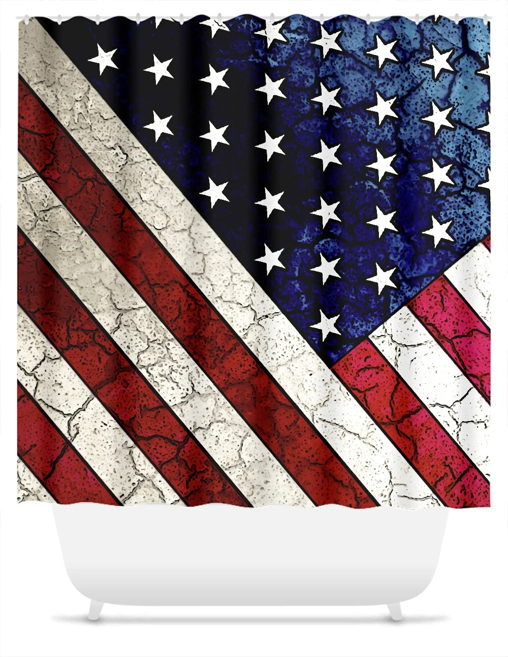 Usa Shower Curtain American Flag Shower Curtain Vintage Crack Texture Usa Flag Stars And Stripes