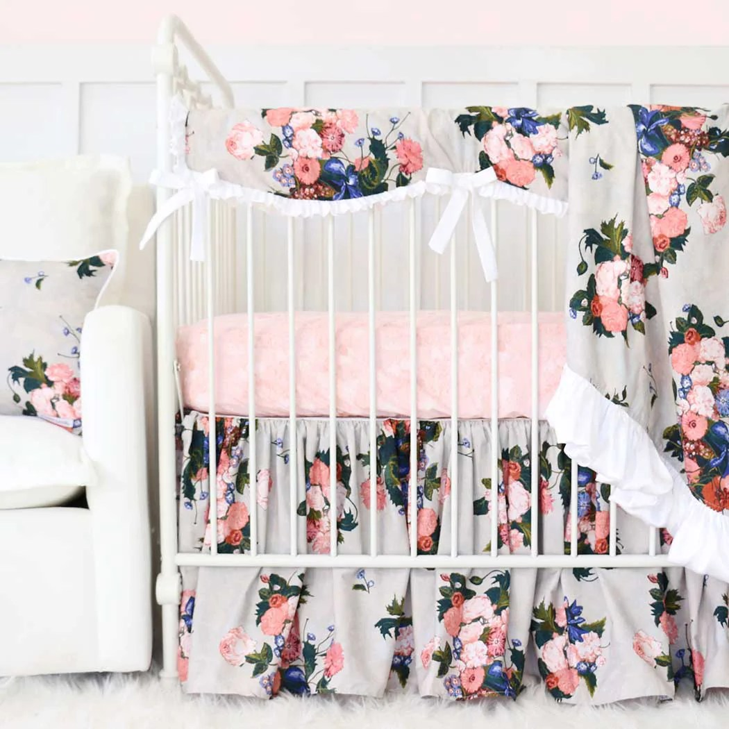 Full Crib Bedding Sets Stella S Taupe Floral Crib Bedding