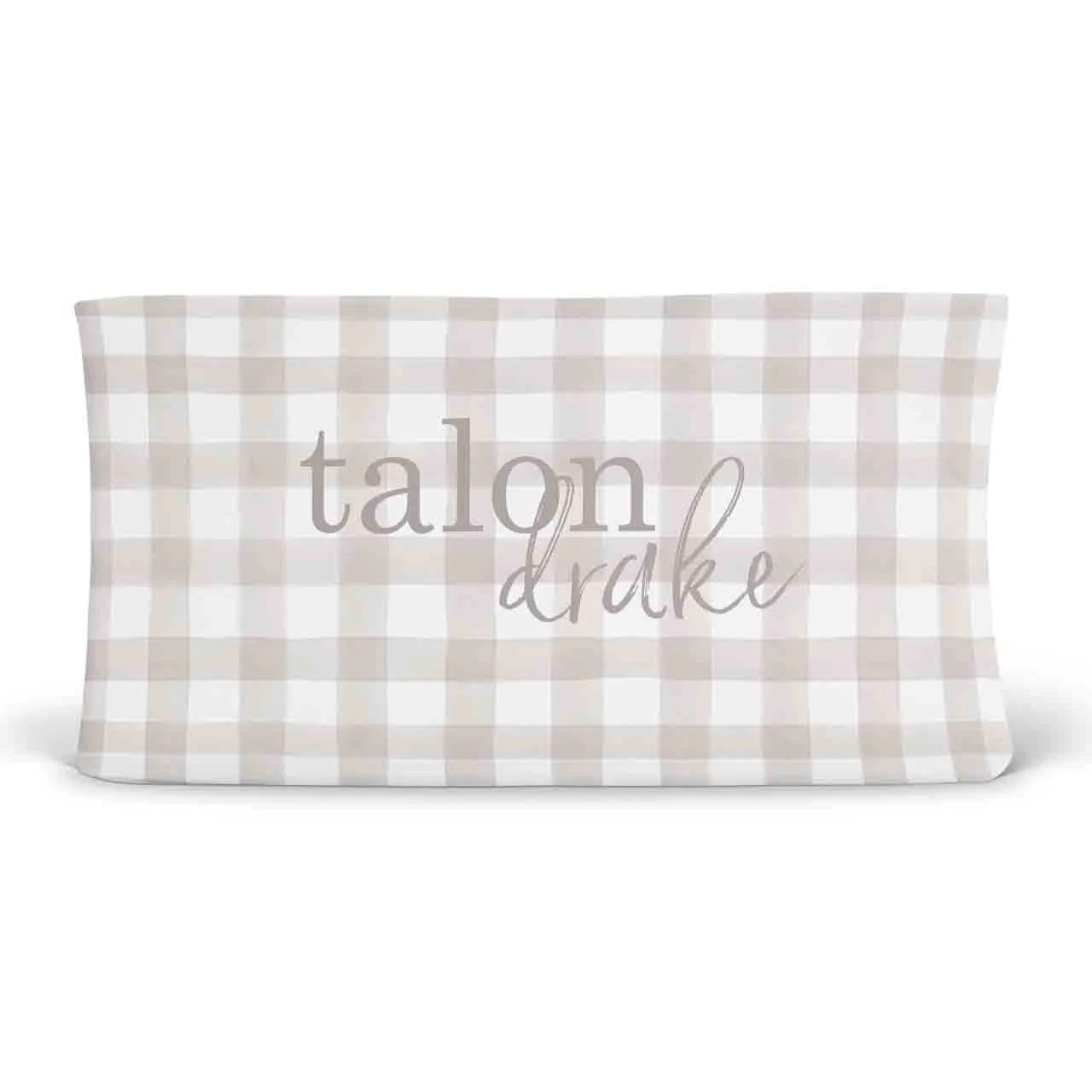 Plaid Taupe Talon S Taupe Plaid Personalized Changing Pad Cover