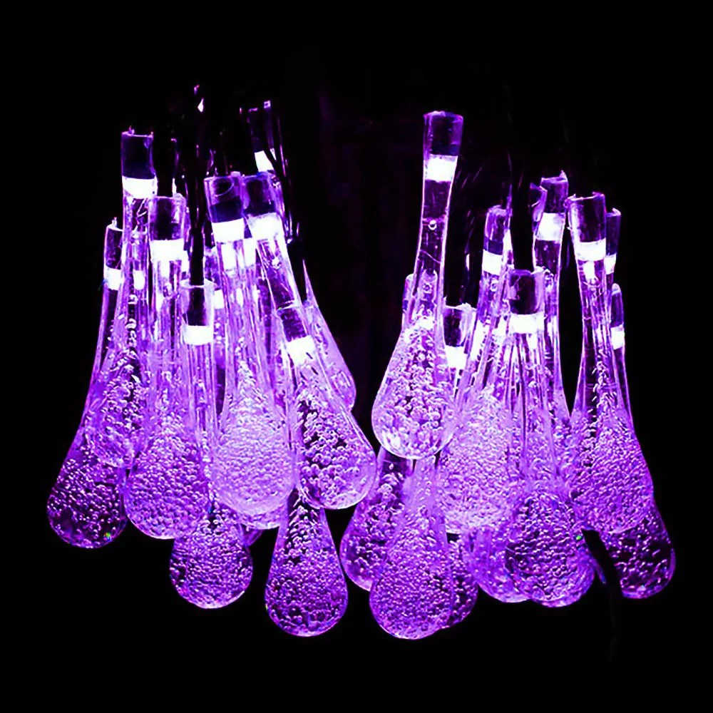 Led Halloween Lights Solar Lights Outdoor 19 2 Ft 8 Modes 30 Water Drop Led Halloween String Light For Garden Fence Patio Party And Holiday Purple