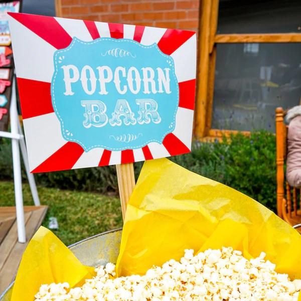 backyard carnival popcorn bar printable set