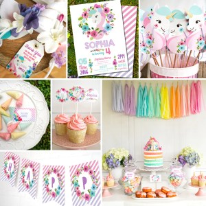 Idyllic Unicorn Birthday Party Decorations Watercolor Floral Unicornparty Decor