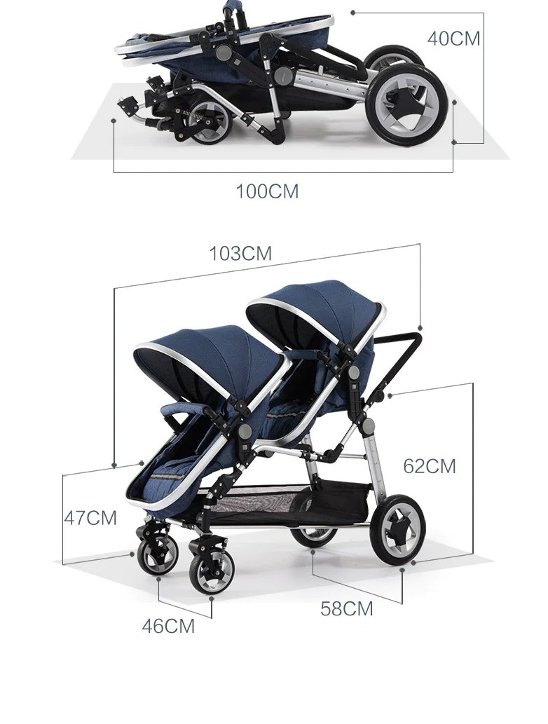 Double Stroller Expensive Luxury Leather Double Twin Stroller With Convertible Bassinet For Infant And Toddler