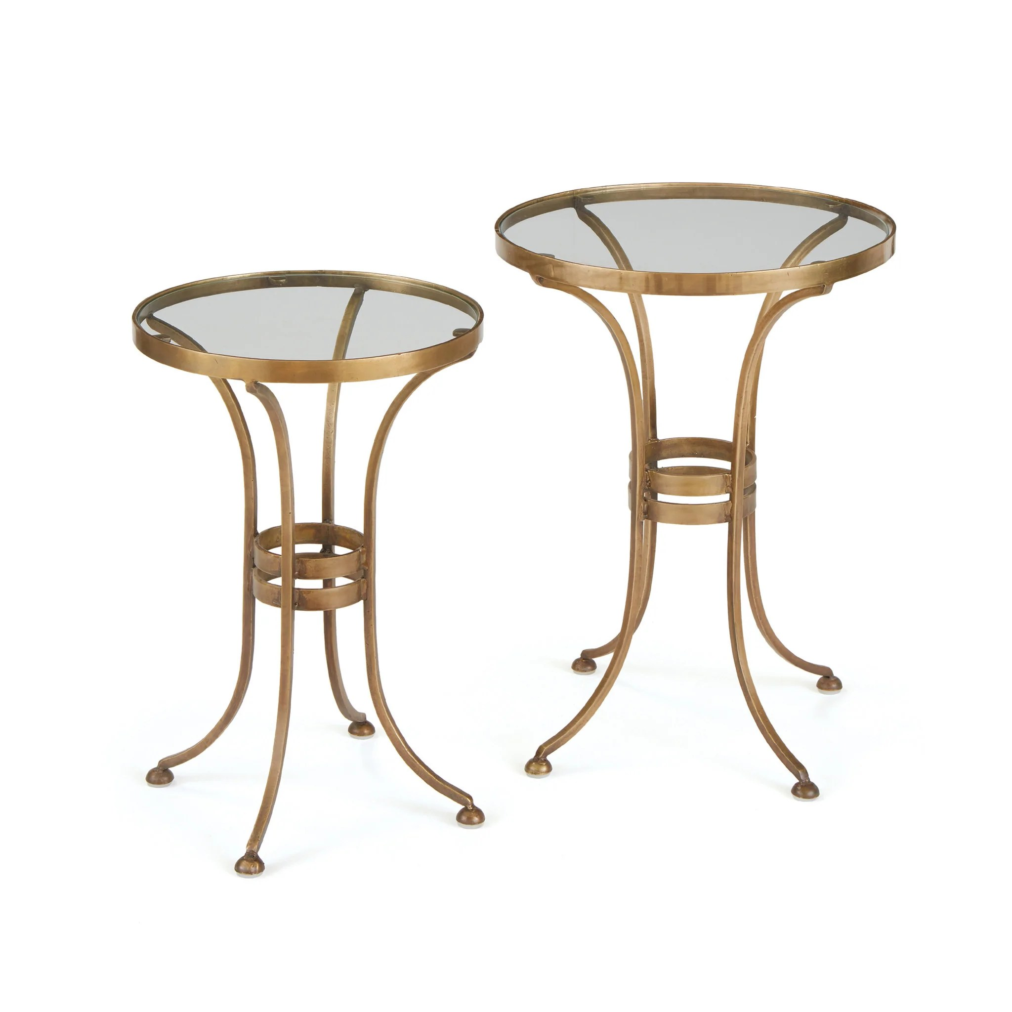 Glass Nesting Tables Gaffney Nesting Tables With Glass Top On Iron Base Set Of 2