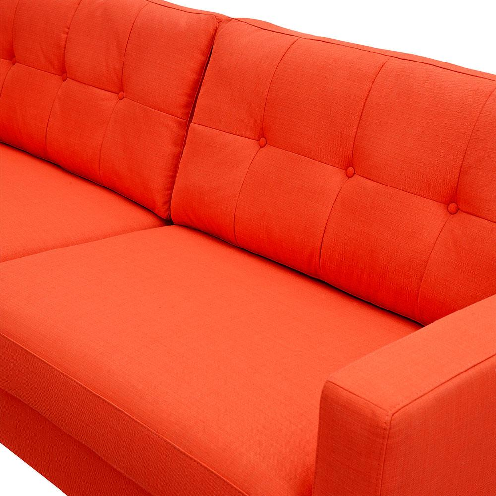 Retro Inflatable Sofa Uma Sofa In Tufted Retro Orange Fabric With Natural Ash Legs