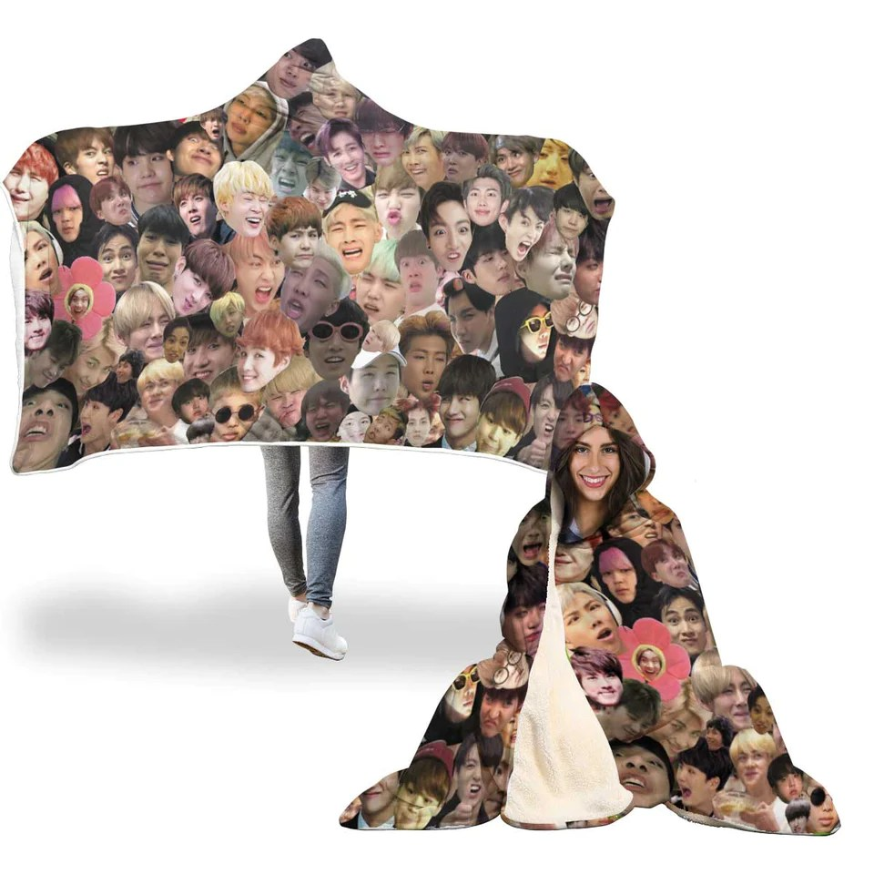 Best Duvet Covers Bts Meme Faces Hooded Blanket – Bibimbox Subscription Box