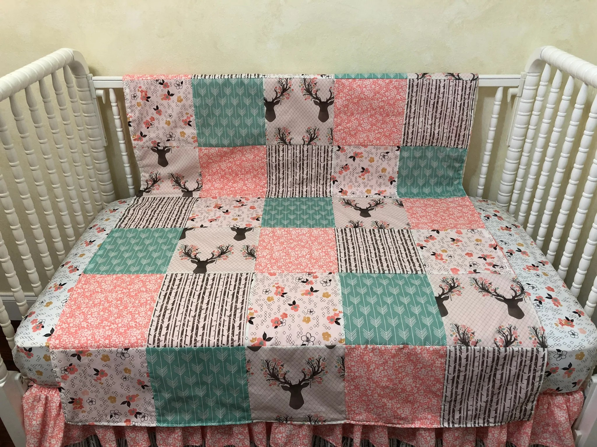 Patchwork Set Baby Baby Girl Woodland Deer Patchwork Baby Blanket In Coral And Mint