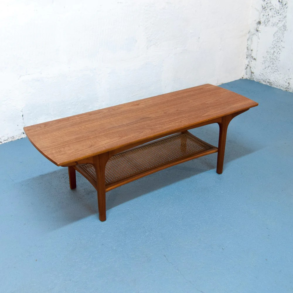 Table De Salon En Rotin Table Basse Scandinave Teck Rotin Vintage