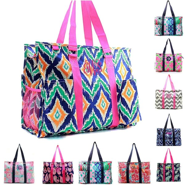 monogrammed tote bags personalized beach bags for women teachers kids