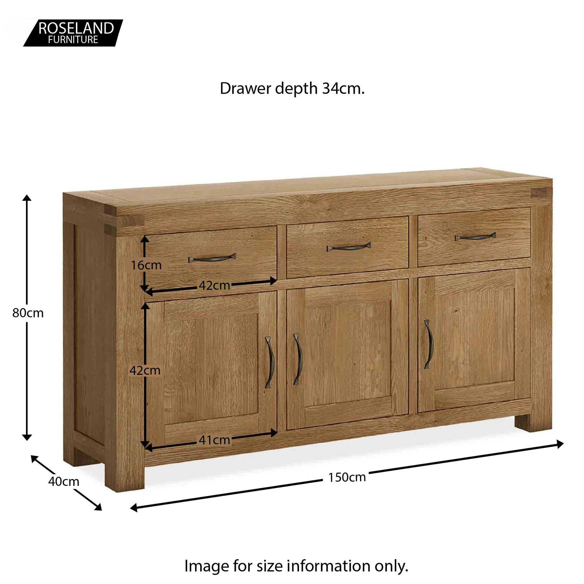 Abbey Grande Large Oak Sideboard Solid Wood 150cm 3 Drawer Roseland Furniture