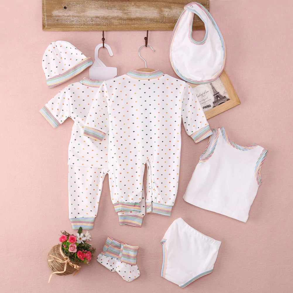 Newborn Infant Outfits 8pc Newborn Baby Outfits Boy Girls Romper T Shirt Pants Long Sleeve Hat Cap 100 Cotton Newborn Baby Boy Girl Clothes Set 3m