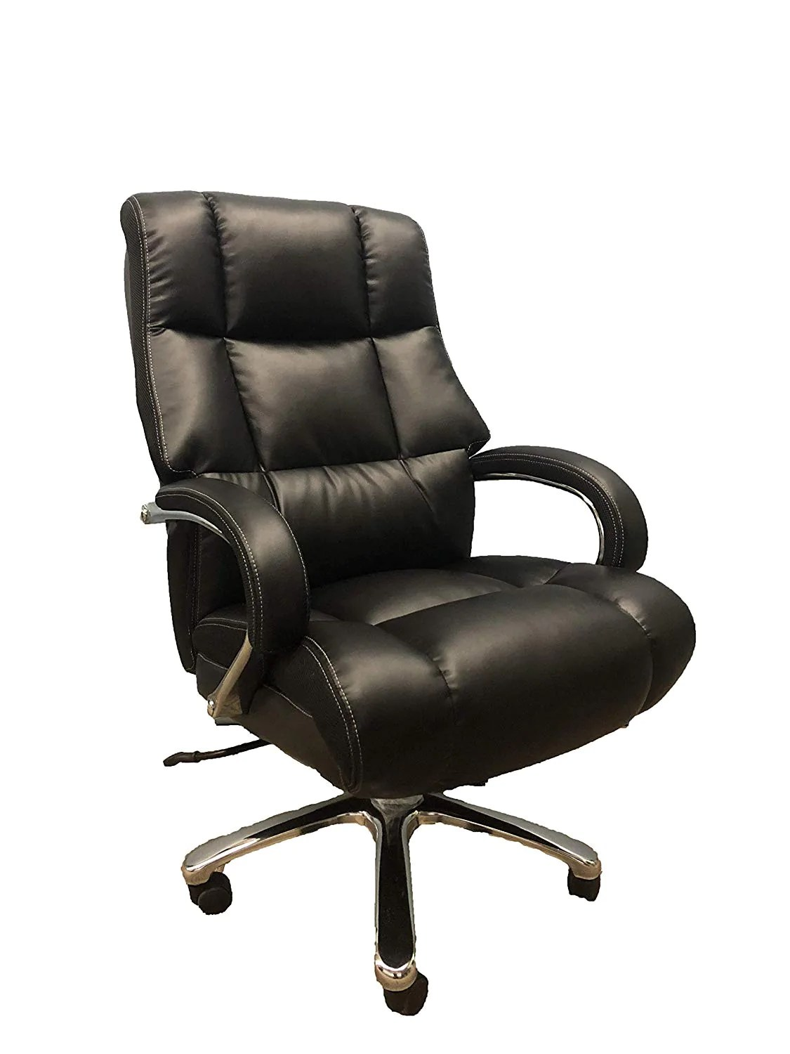 Chairs Comfortable Big And Tall Black Comfort Executive Office Chair With Extra Thick Padded Chrome Arms
