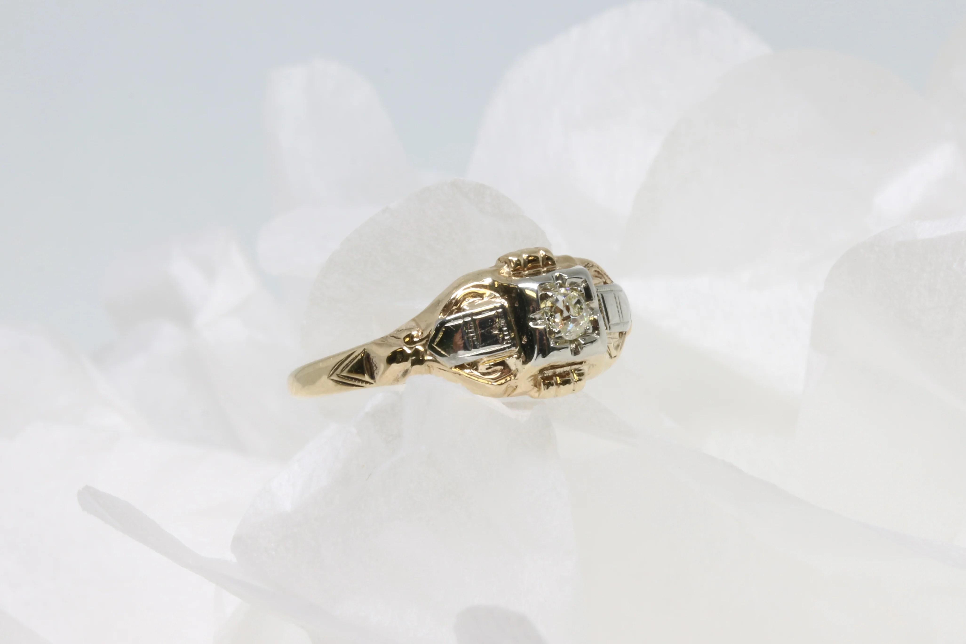 Absorbing Art Deco Illusion Set Diamond Ring Vintage Engagement Ring Styles Love Atique Engagement Ring Styles Through History Engagement Ring Styles Through Decades wedding rings Engagement Ring Styles