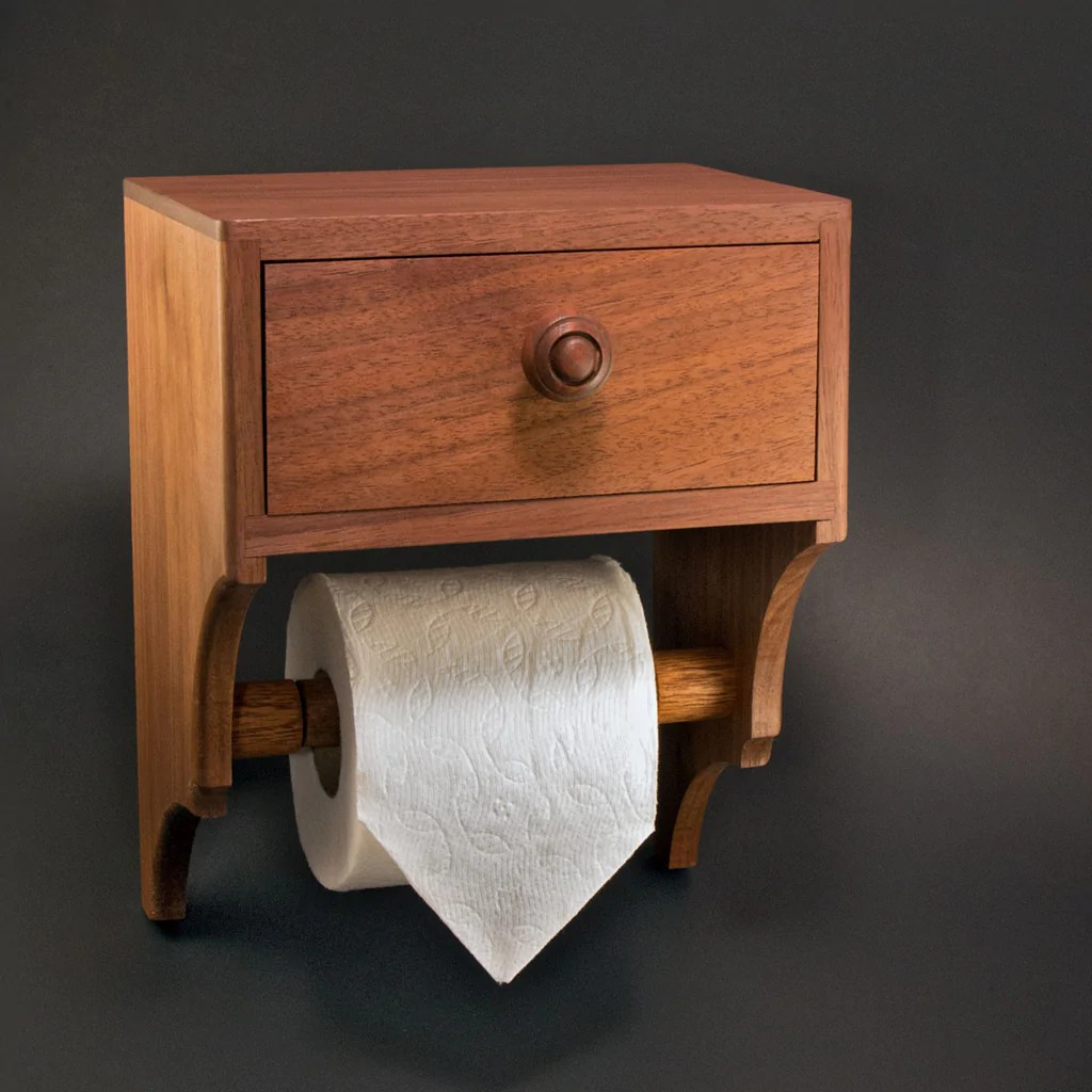 Unique Toilet Paper Holder With Drawer And Shelf Premium