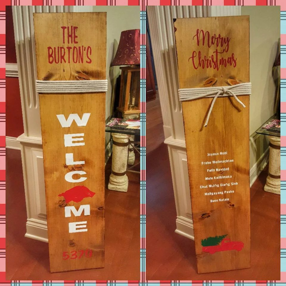 Frohe Weihnachten Tagalog New Multiseasonal Hand Painted Welcome Sign