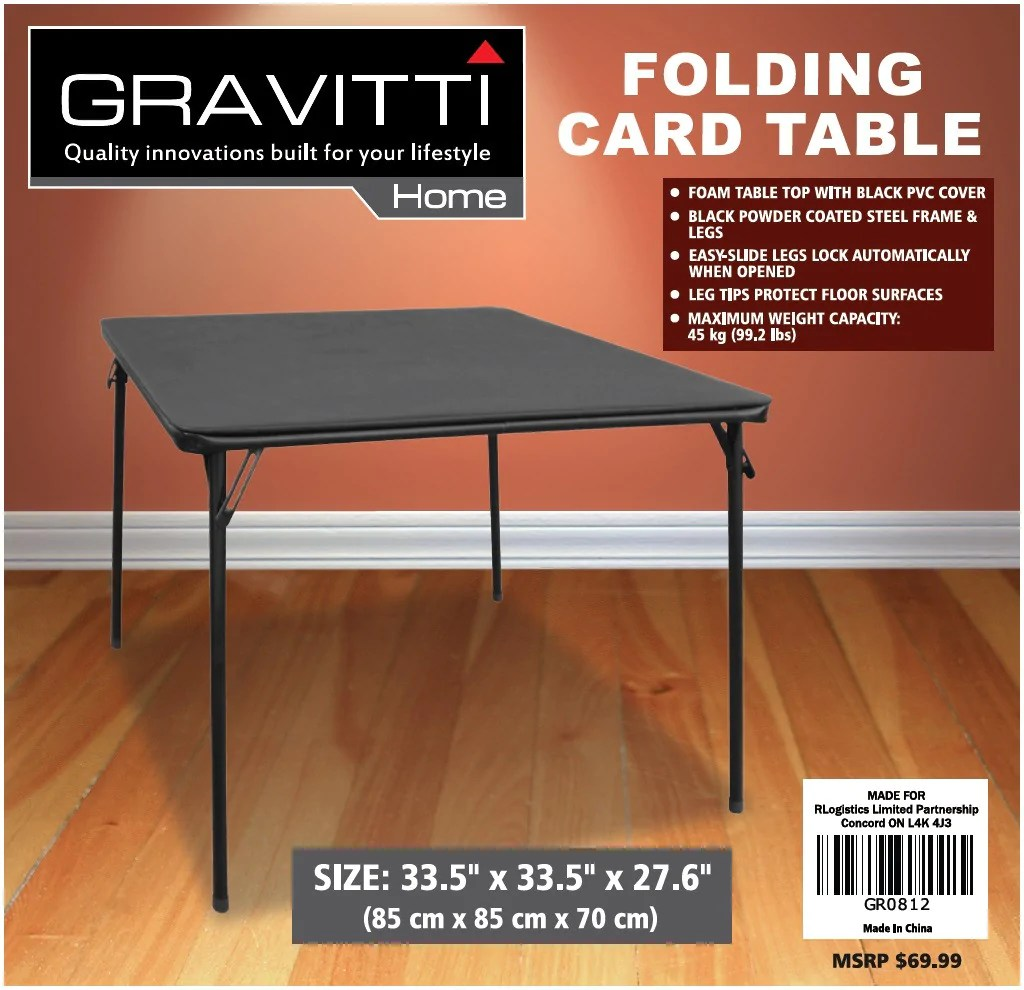 Folding Card Table Canada Gravitti Folding Card Table 85x85x70cm