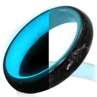 Glow in the Dark Carbon Fiber Titanium Wedding Engagement ...