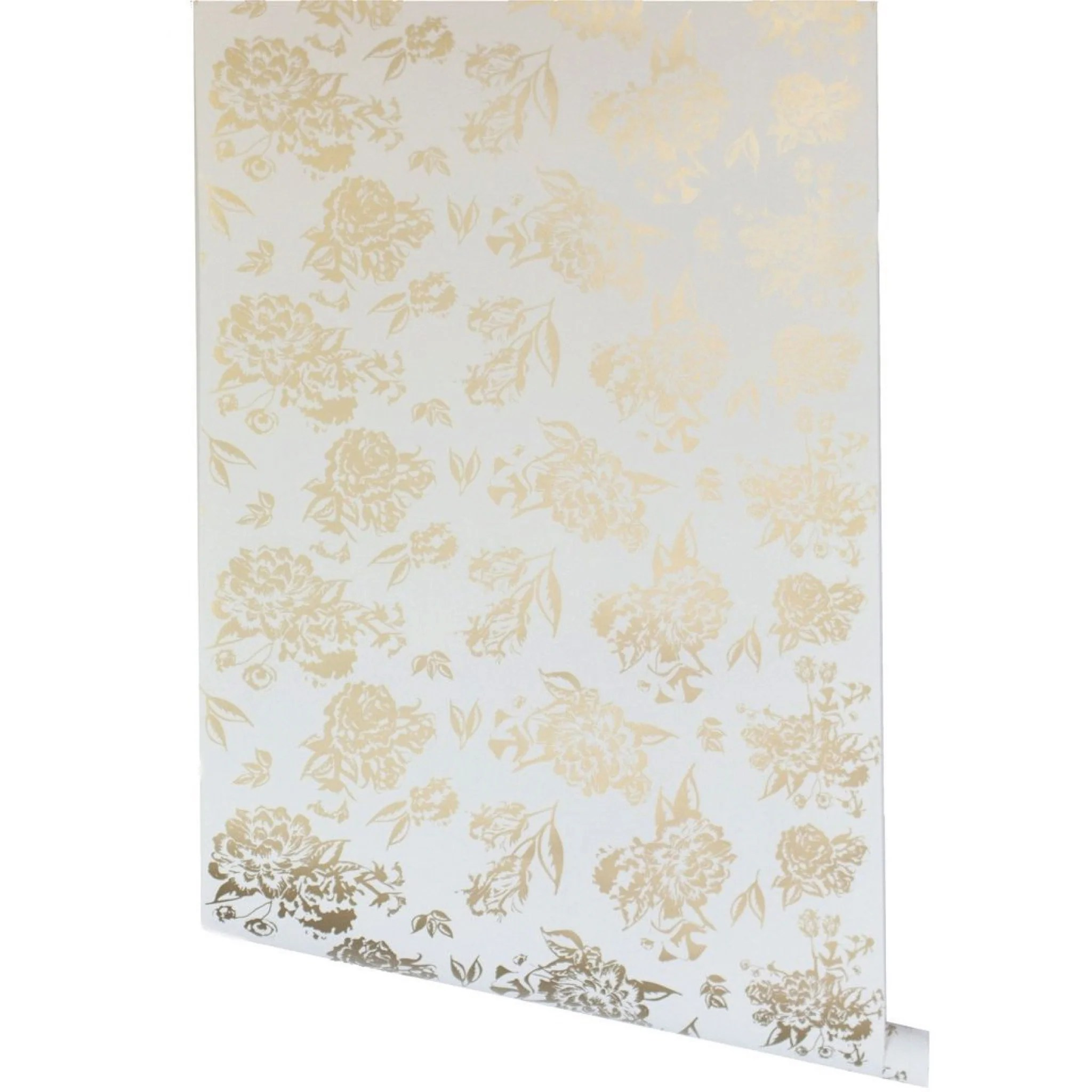 Metallic Gold Wallpaper Vivienne Floral Wallpaper Metallic Gold