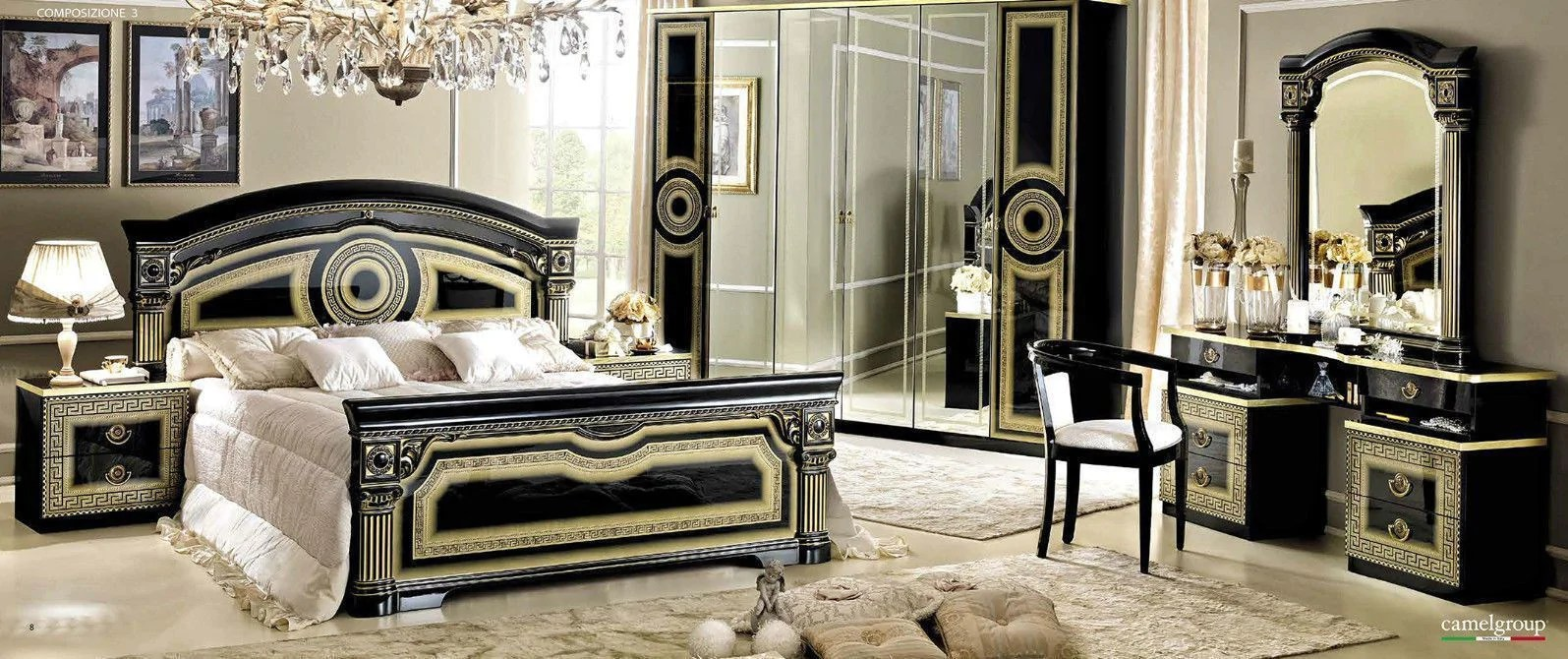 Italian Furniture Bedroom Aida Black And Gold Italian Bedroom Set Full Range Available