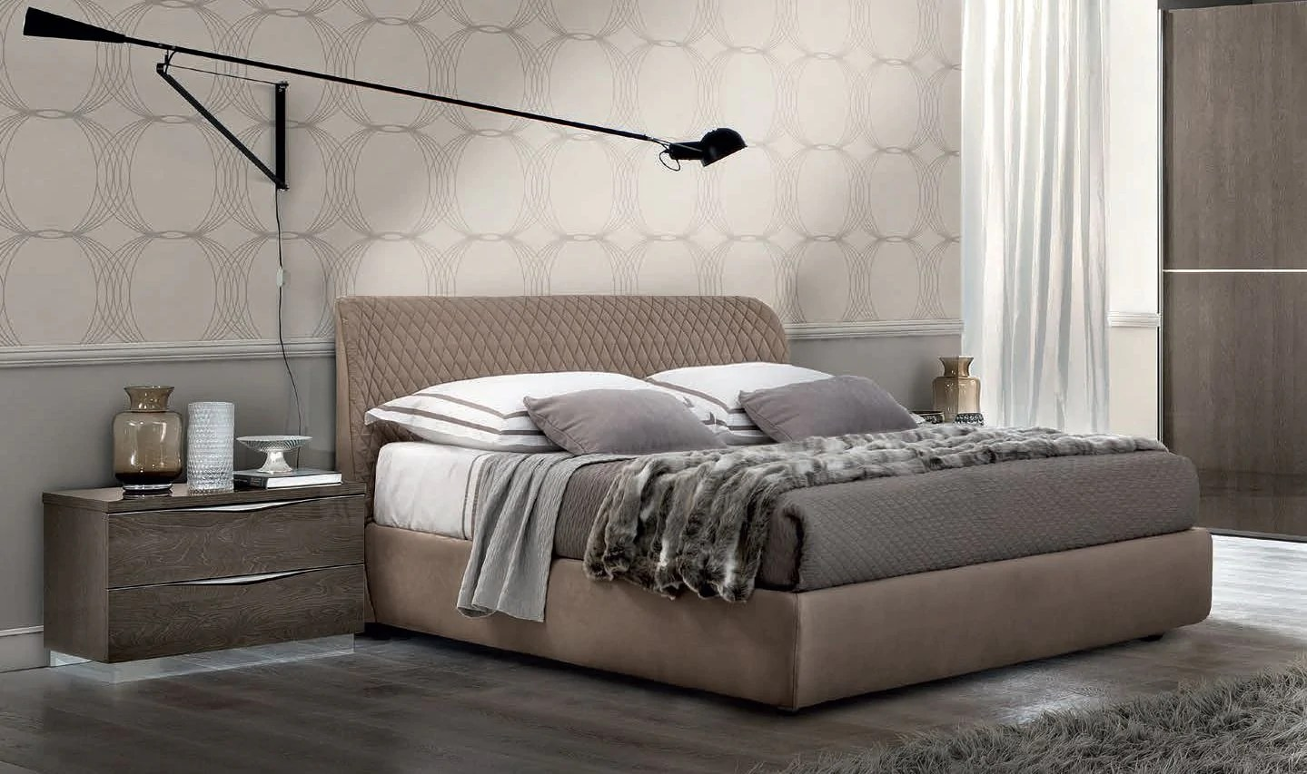 Italian Furniture Bedroom Platinum Night Letto Kleo High Gloss Italian Bed Frame