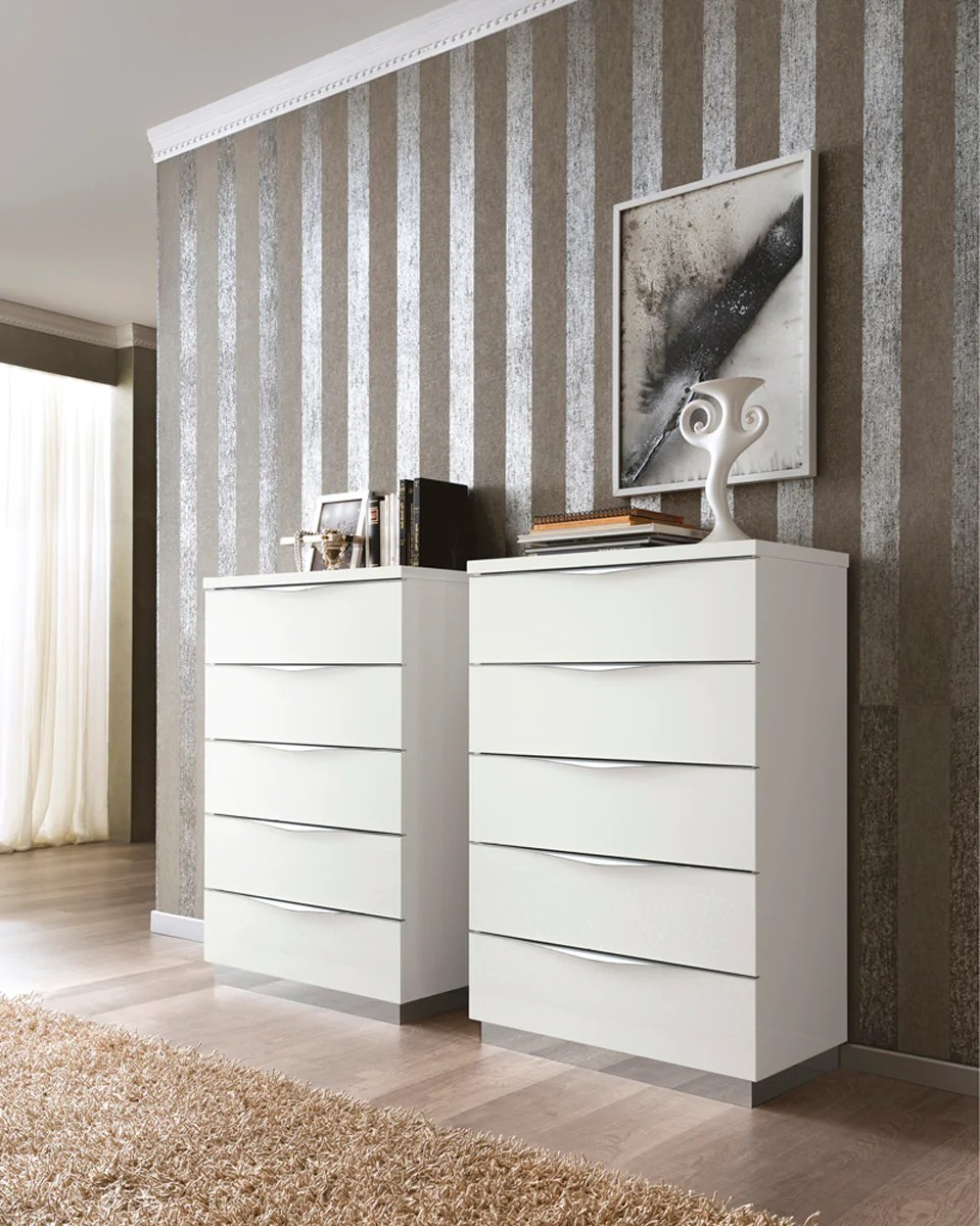 Onda White High Gloss Italian 5 Drawer Chest