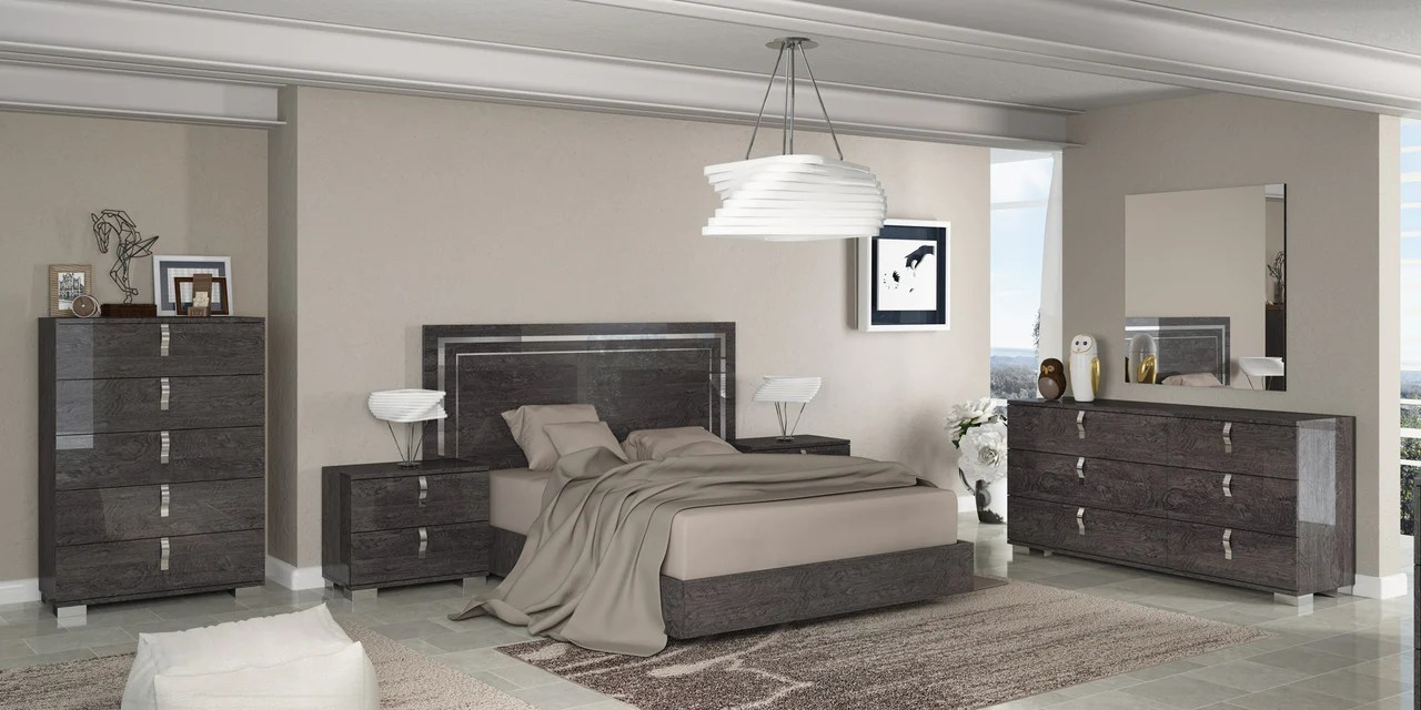 Italian Furniture Bedroom Sarah Grey Birch Italian Full Bedroom Set