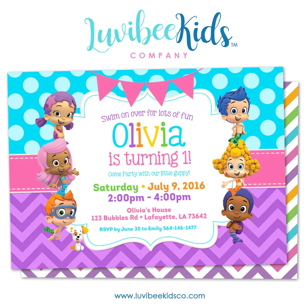 Bubble Guppies Birthday Invitation Girl39s Style Blue