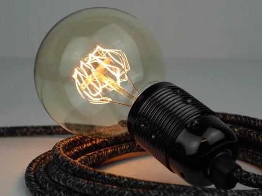 Plug In Pendant Premium Round Fabric Cable Black Marl