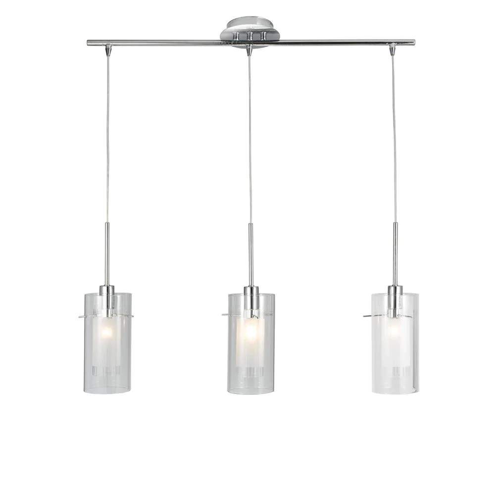 Glass Lamp Ceiling Searchlight 3303 3cc Duo Polished Chrome 3 Lamp Bar Pendant With Clear Cylinder Glass Shades