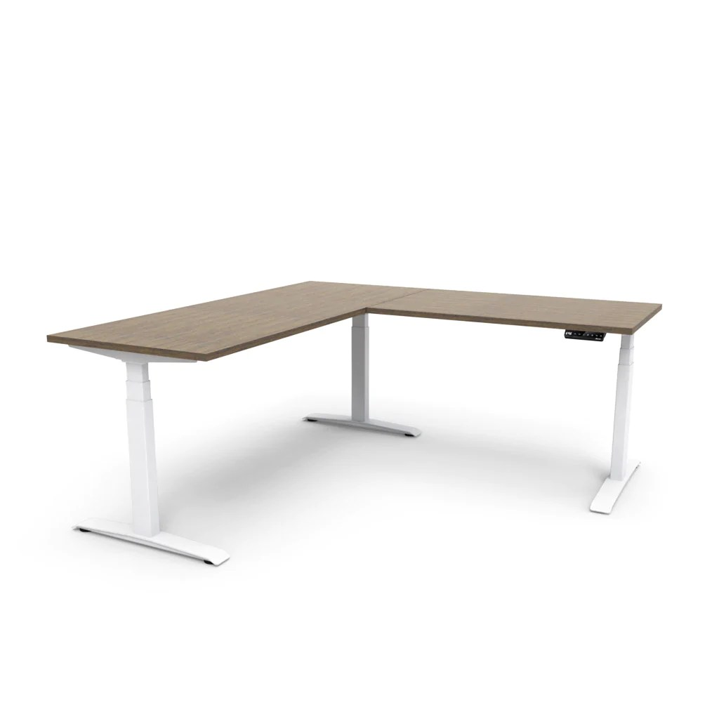 Series L Adjustable Height Single Desk Walnut 57 Adjust L-shape Height-adjustable Table - Marinus Walnut