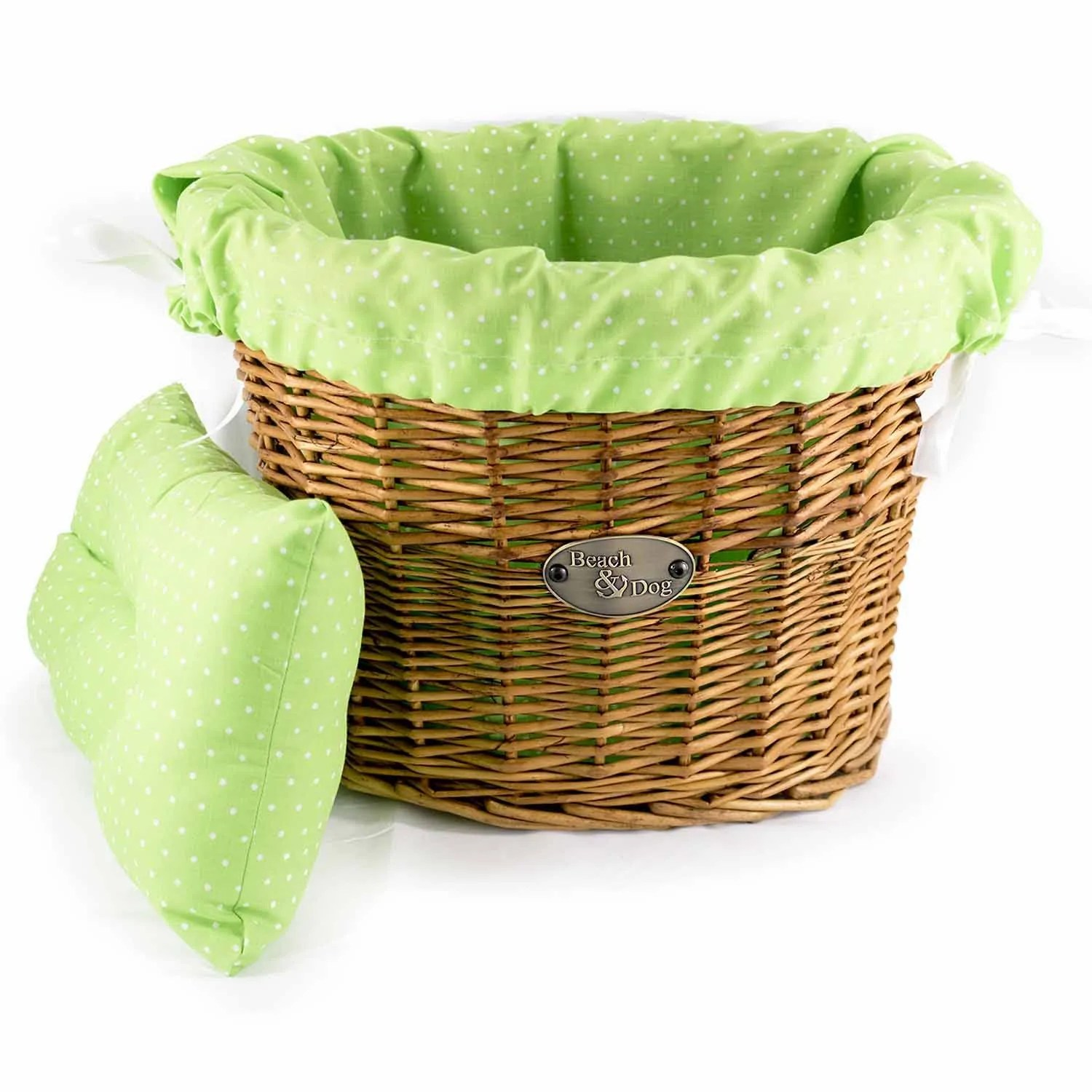 White Hamper With Liner Light Green With White Polka Dots Basket Liner Beach