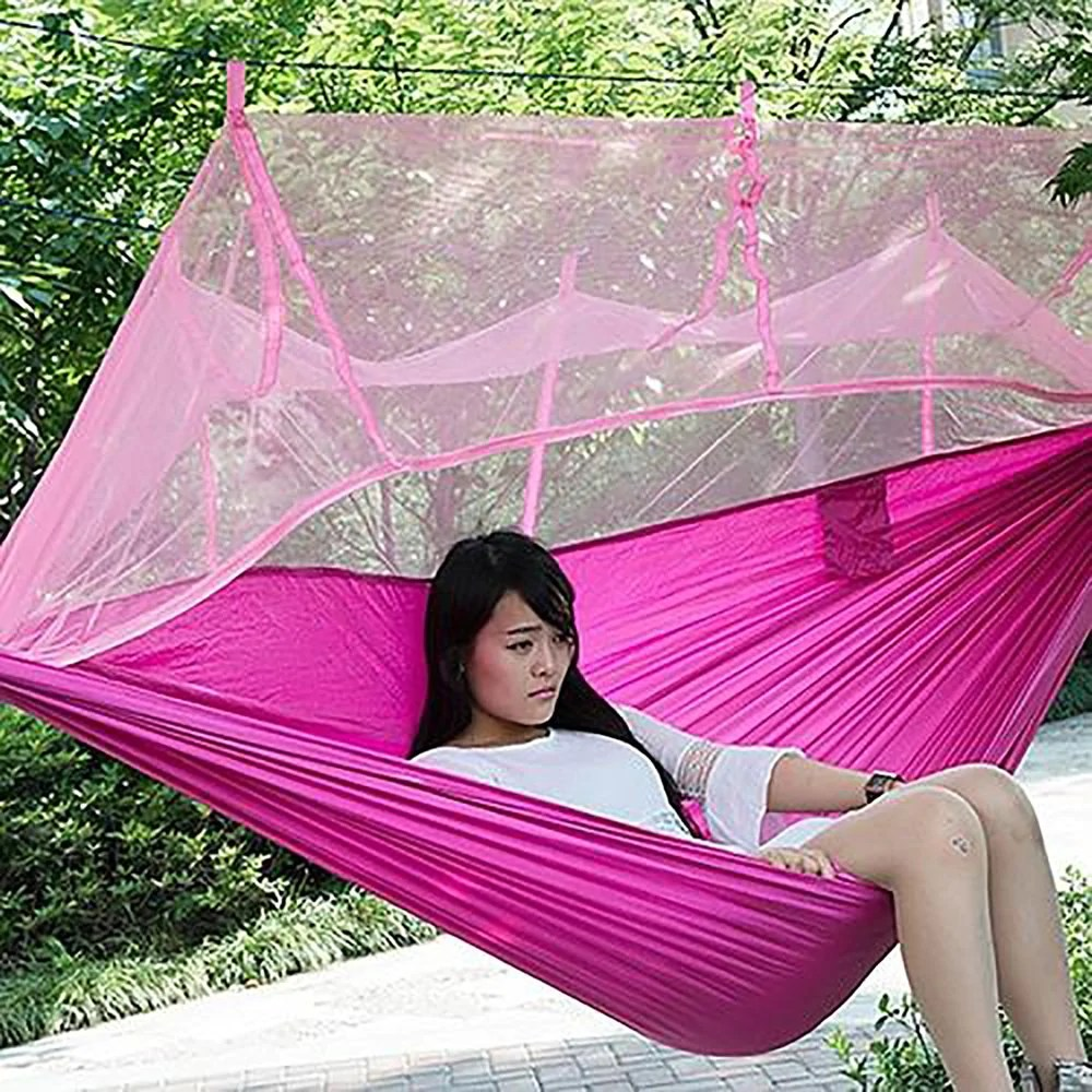 Portable Hammock Single Person Folded Into The Pouch With Mosquito Net Watch Whole