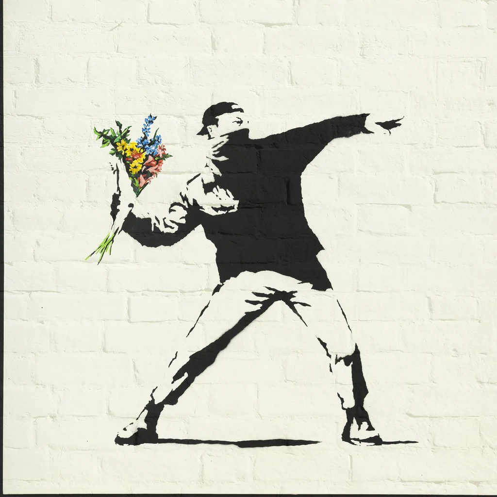 Banksy Canvas Art Banksy On Square Square Canvas Poster Plate