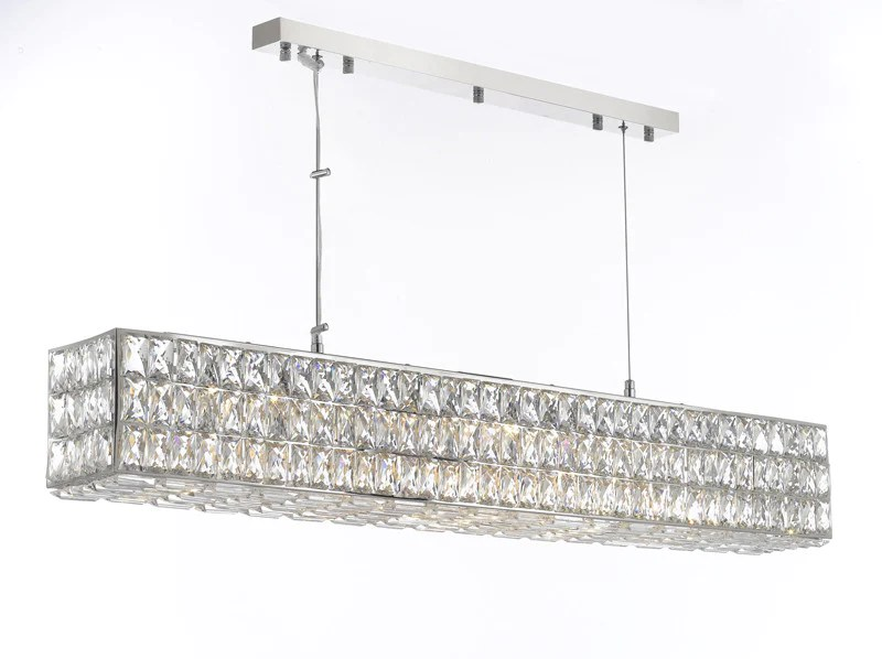 Maria 5 Light Kitchen Island Pendant Crystal Spiridon Linear Chandelier Modern / Contemporary