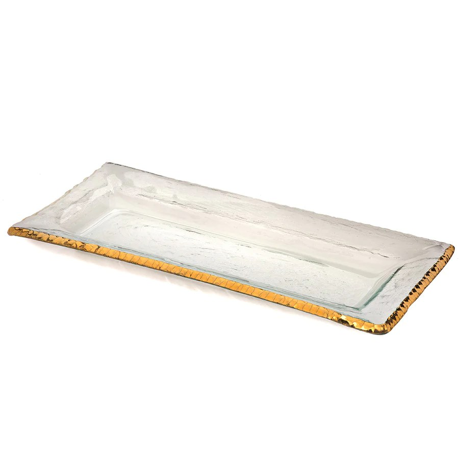 Gold Serving Tray Edgey Glass Rectangular Serving Trays Annieglass
