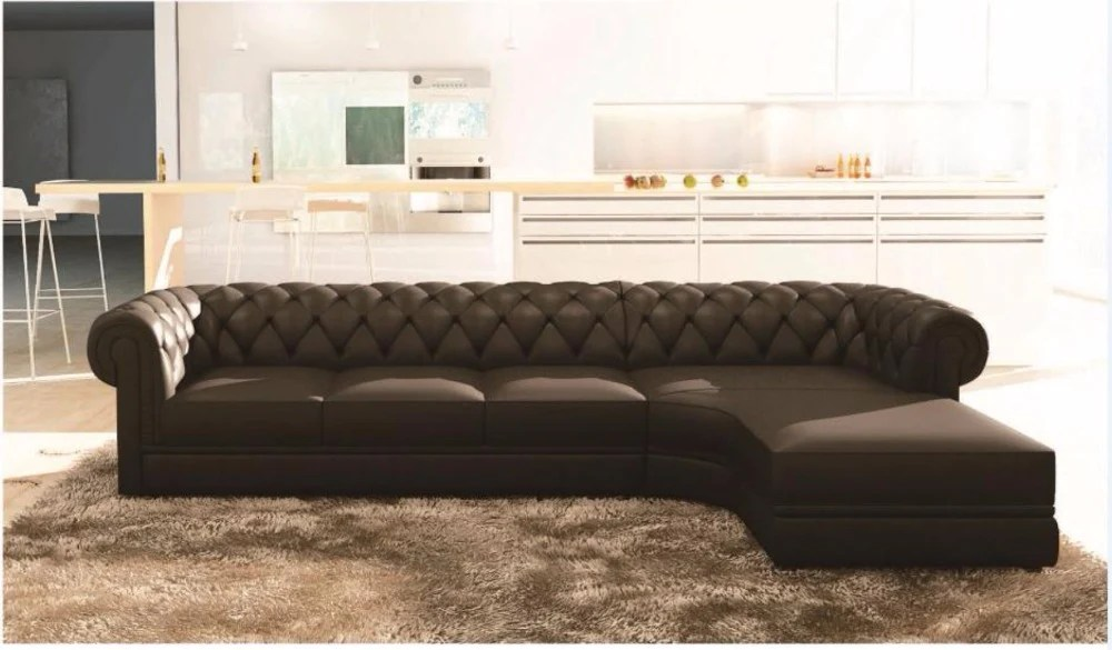 Sofa L Images Chesterfield Luxury Black Upholstered L Shaped Sofa D My Aashis
