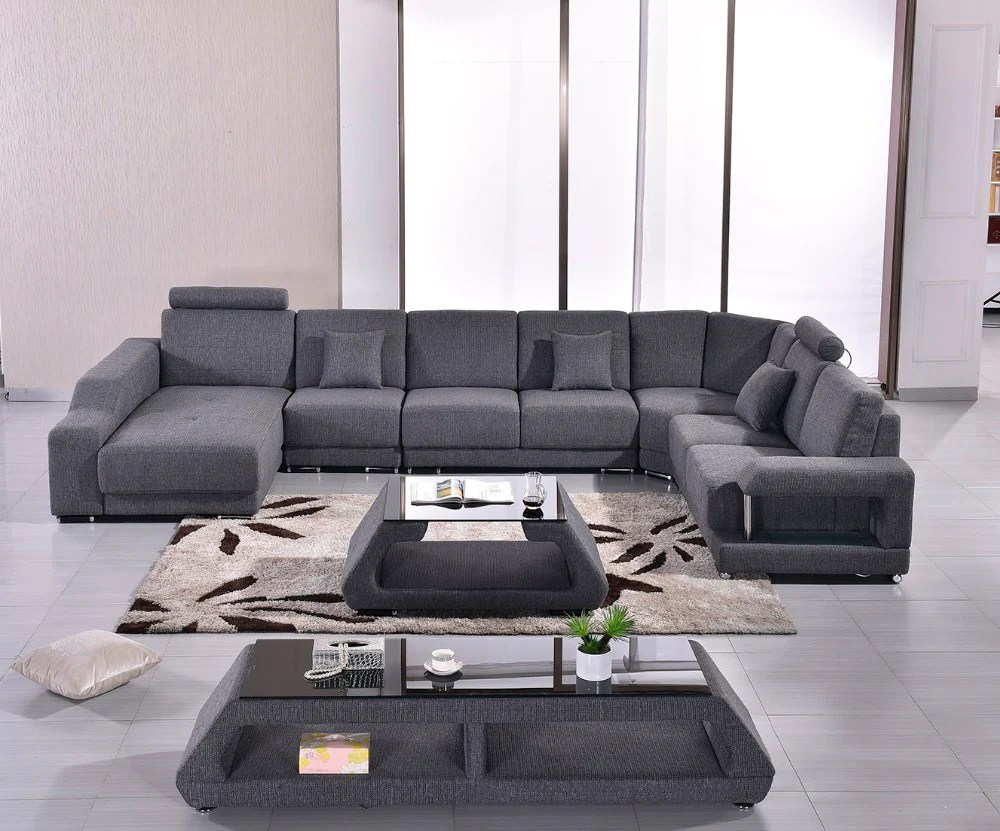 Modern Couch Fabric Modern Sofa Set Armchair Sectional Sofa U Shape Living Room